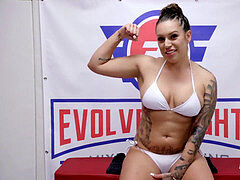 Tori Avano naked wrestling battle fingered and gargles a fuckpole