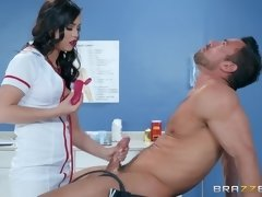 A hot nurse in sexy white nylons riding on top like a true hoe