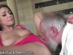 """GrandpasFuckTeens Bored Young Babe Decides To Seduce The Poolman"""