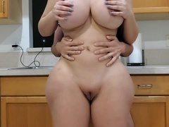 BIG ASS STEPMOM FUCKS HER STEPSON IN THE KITCHEN AFTER SEEING HIS BIG BONER
