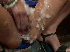 Soaked sluts get their slippery cunts fucked hard