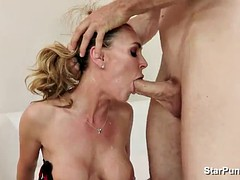 Blonde milf made to suck big cock