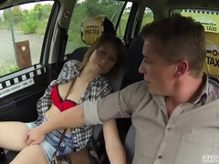 Stunning passenger opens her little shaved pussy on the backseat