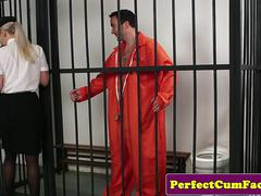 Busty british police babe sucking prisoner