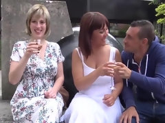 2 busty bisex ladies and a guy have fun