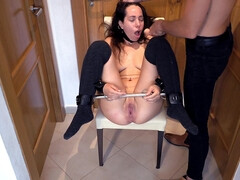 BONDAGE & DISCIPLINE Servant Gal made to Sploog & Wetts herself