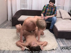 Dirt poor dude allows hot pal to pound his girlfriend for do