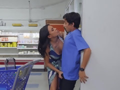 MILF Latina Luna Star has anal sex in the store with a teenager