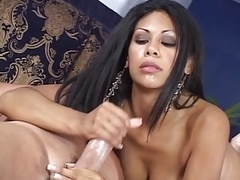 Sexy brunette with big tits jerks off men thick cock