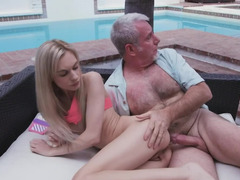 Perverted chick is being fucked by her horny stepdaddy