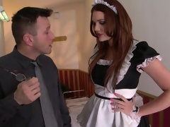 Horny maid Emma Leigh satisfies a horny customer